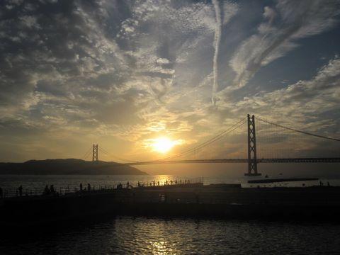 明石海峡大橋 夕焼け